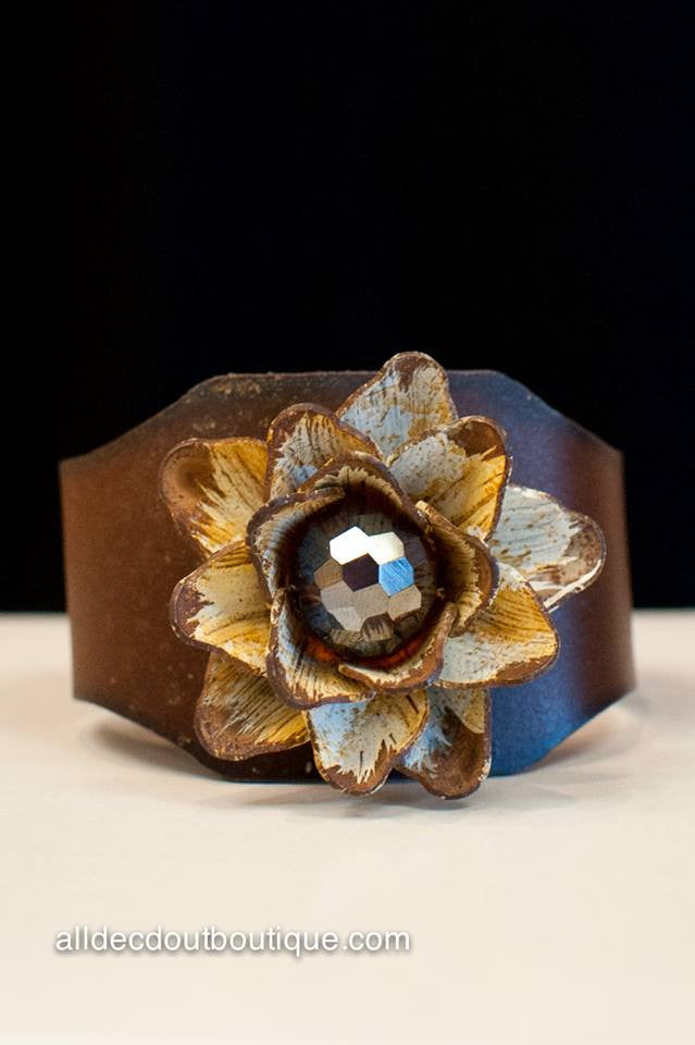 ADO |  Rustic Cuff Bracelet with Embellished Flower - All Decd Out