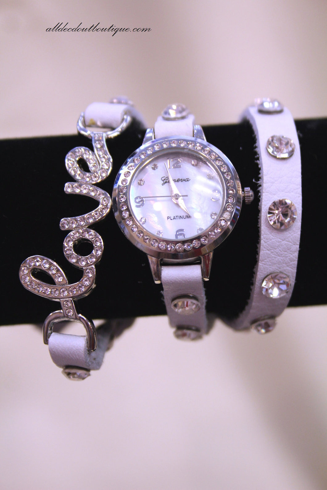 White/White, Clear Crystal Love | Leather Band w/ Button Clasp