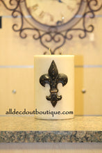 Decorative Candle Pin | Embellished Topaz Crystals Large Fleur De Lis - All Decd Out