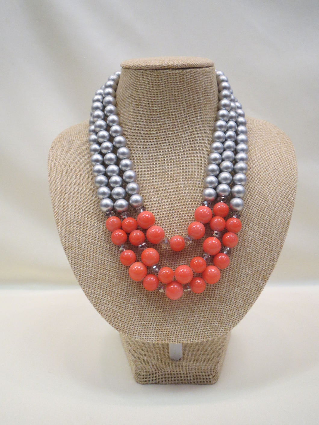 ADO | 3 Strand Coral & Silver Necklace - All Decd Out