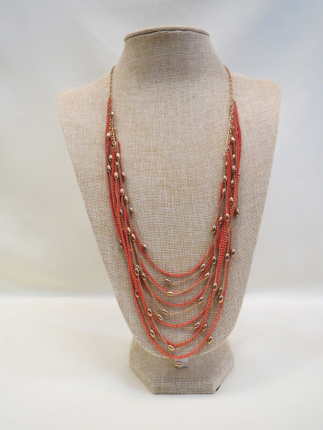 ADO | Orange & Gold Bib Necklace Long - All Decd Out