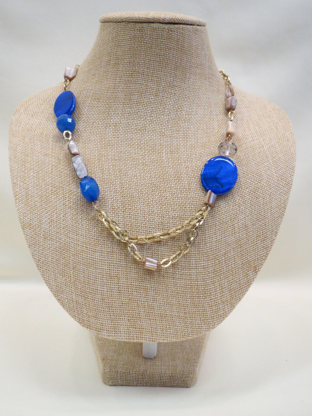 ADO | Blue Bead Gold Chain Necklace Short - All Decd Out