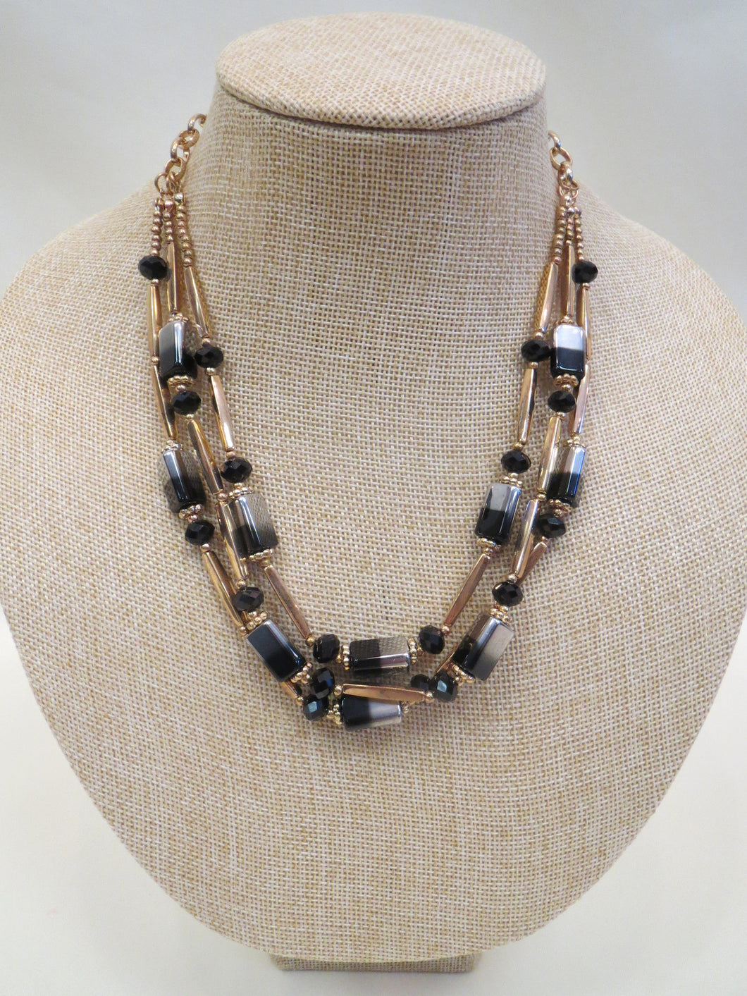 ADO Three Layer Black, Gold, Silver Necklace | All Dec'd Out
