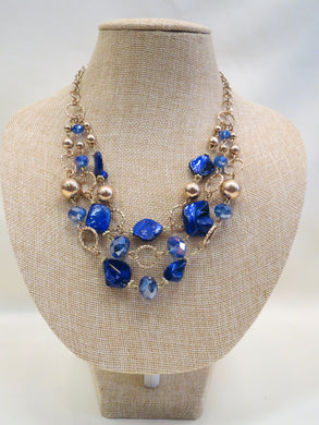 ADO | Blue & Gold Layer Necklace - All Decd Out