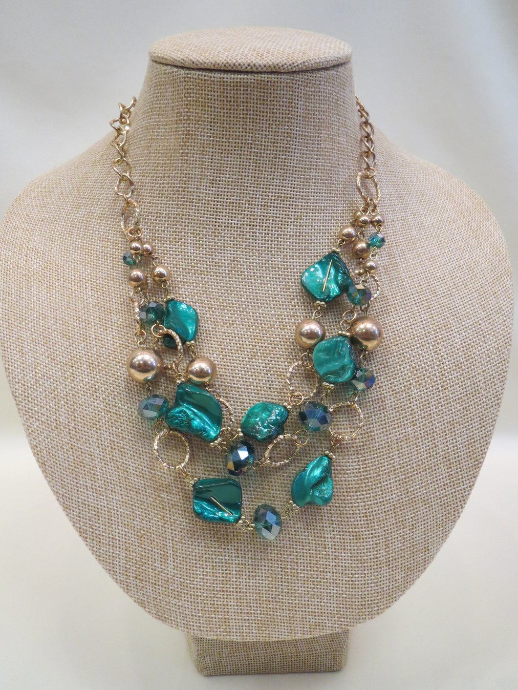 ADO | Green & Gold Layer Necklace - All Decd Out