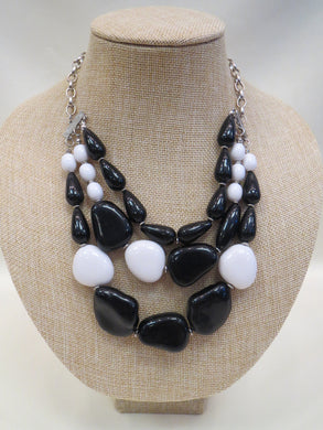 ADO | Black & White Beaded Layer Necklace - All Decd Out