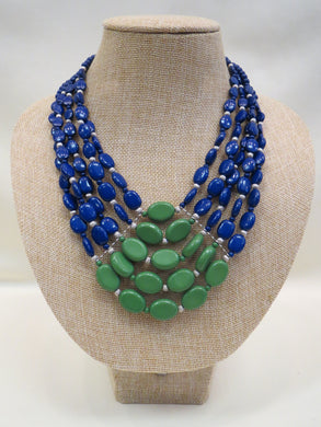 ADO | 5 Layer Green & Blue Beaded Necklace - All Decd Out