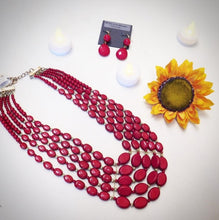 ADO | 5 Layer Red & Gold Beaded Necklace - All Decd Out