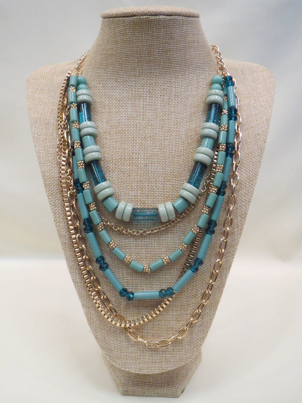 ADO | Mint Green & Gold Multi Layer Necklace - All Decd Out