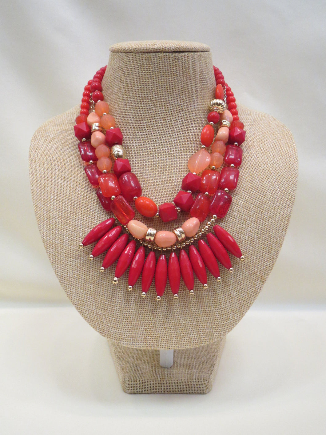 ADO | Red Multi Layer Necklace - All Decd Out
