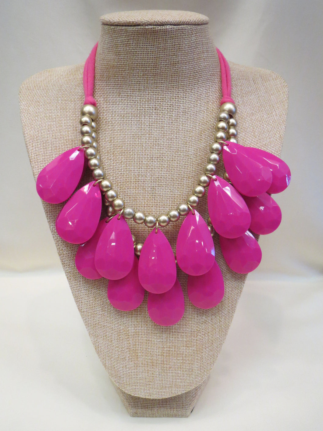ADO | Cloth Necklace Pink & Gold Beads - All Decd Out