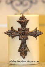 DECORATIVE CANDLE PIN EMBELLISHED Amber Crystals Extra Large Cross