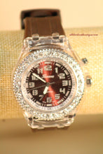 Brown/Brown Clear Rhinestones Large Face Silicone Band with Clasp