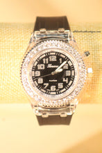 Black/Black Clear Rhinestones Large Face Silicone Band with Clasp