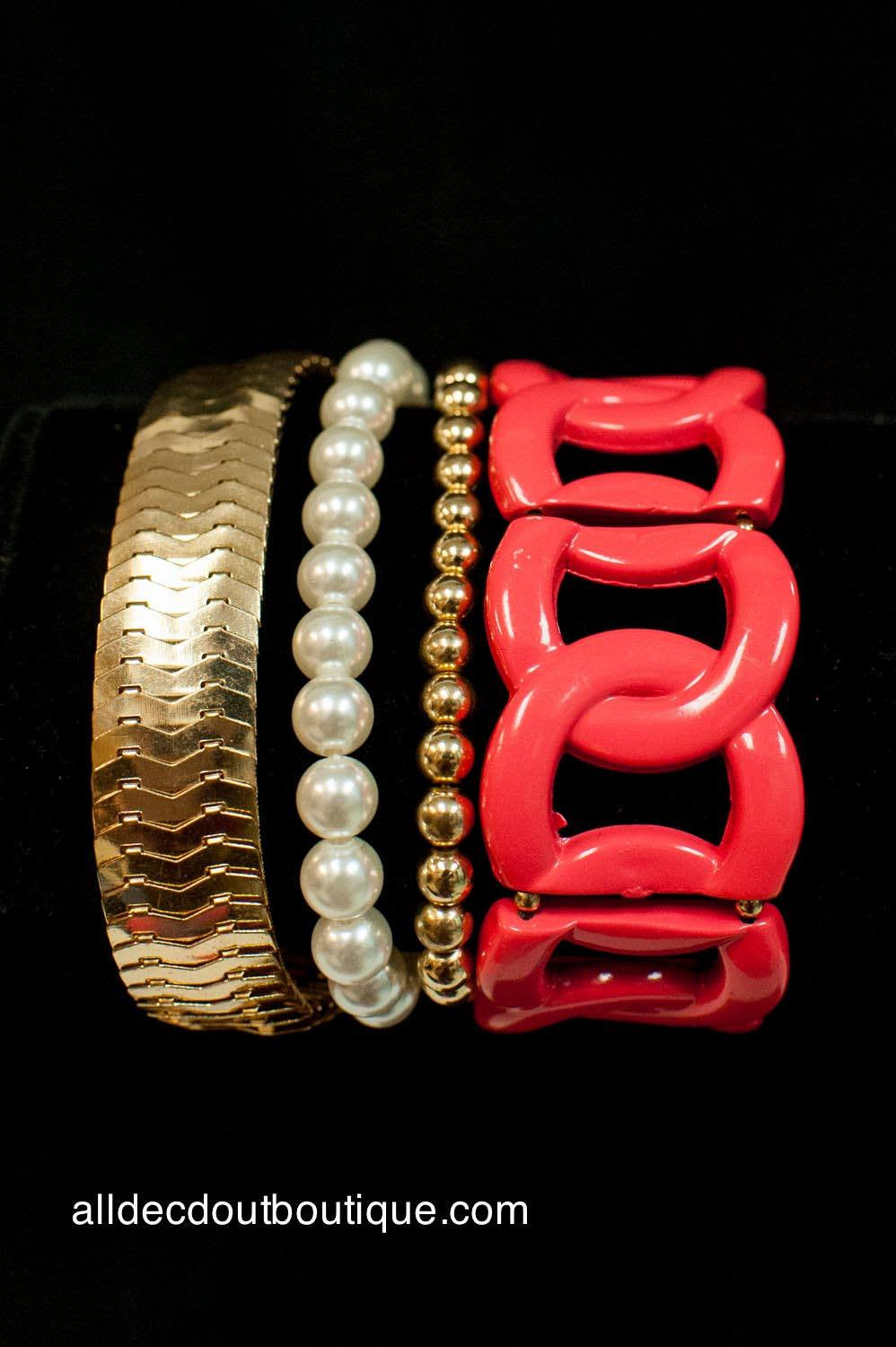 ADO | Coral and Gold Chain Link Stretch Bracelet