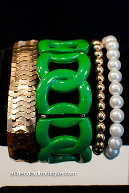 ADO | Large Green & Gold Link Stretch Bracelet
