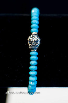 ADO | Small Turquoise Beaded Stretch Bracelet with Skull
