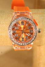 Orange/Orange Clear Rhinestones Small Face | Silicone Band with Clasp