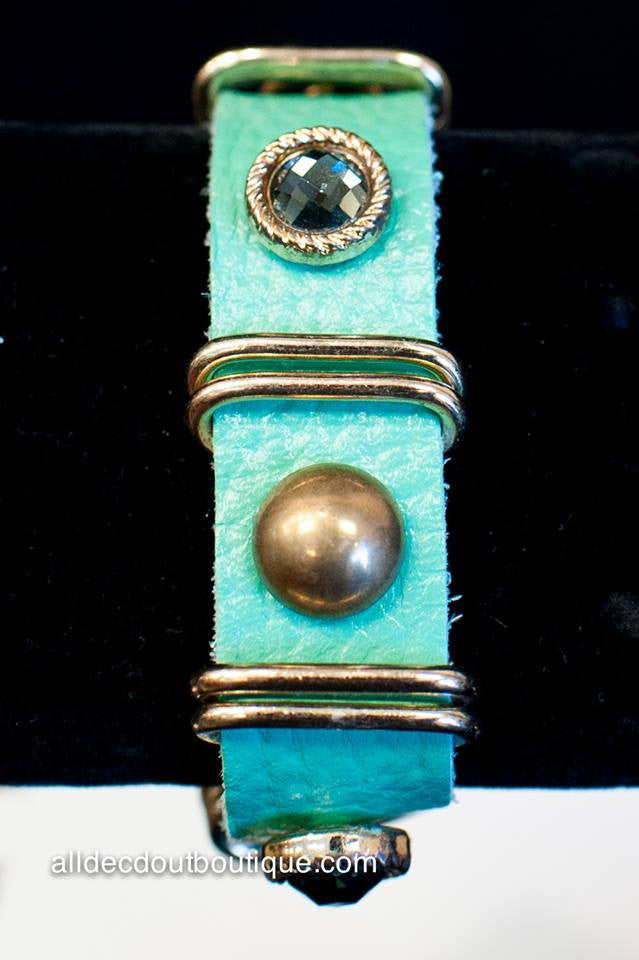 ADO | Turquoise Leather Snap Bracelet with Stones