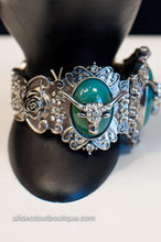 ADO |  Silver Bull Stretch Bracelet with Turquoise Stones - All Decd Out