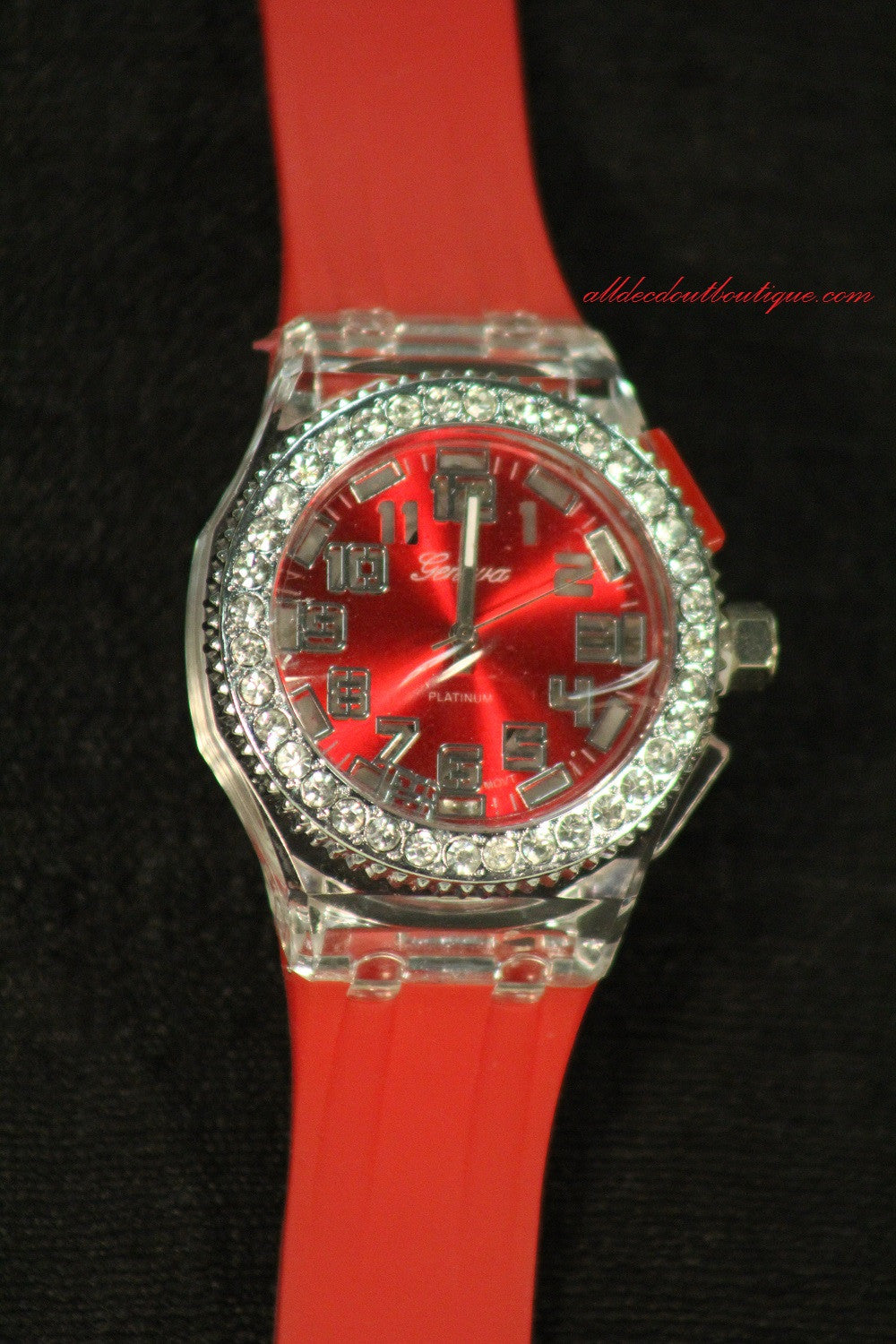 Red/Red Clear Rhinestones Large Face | Silicone Band with Clasp