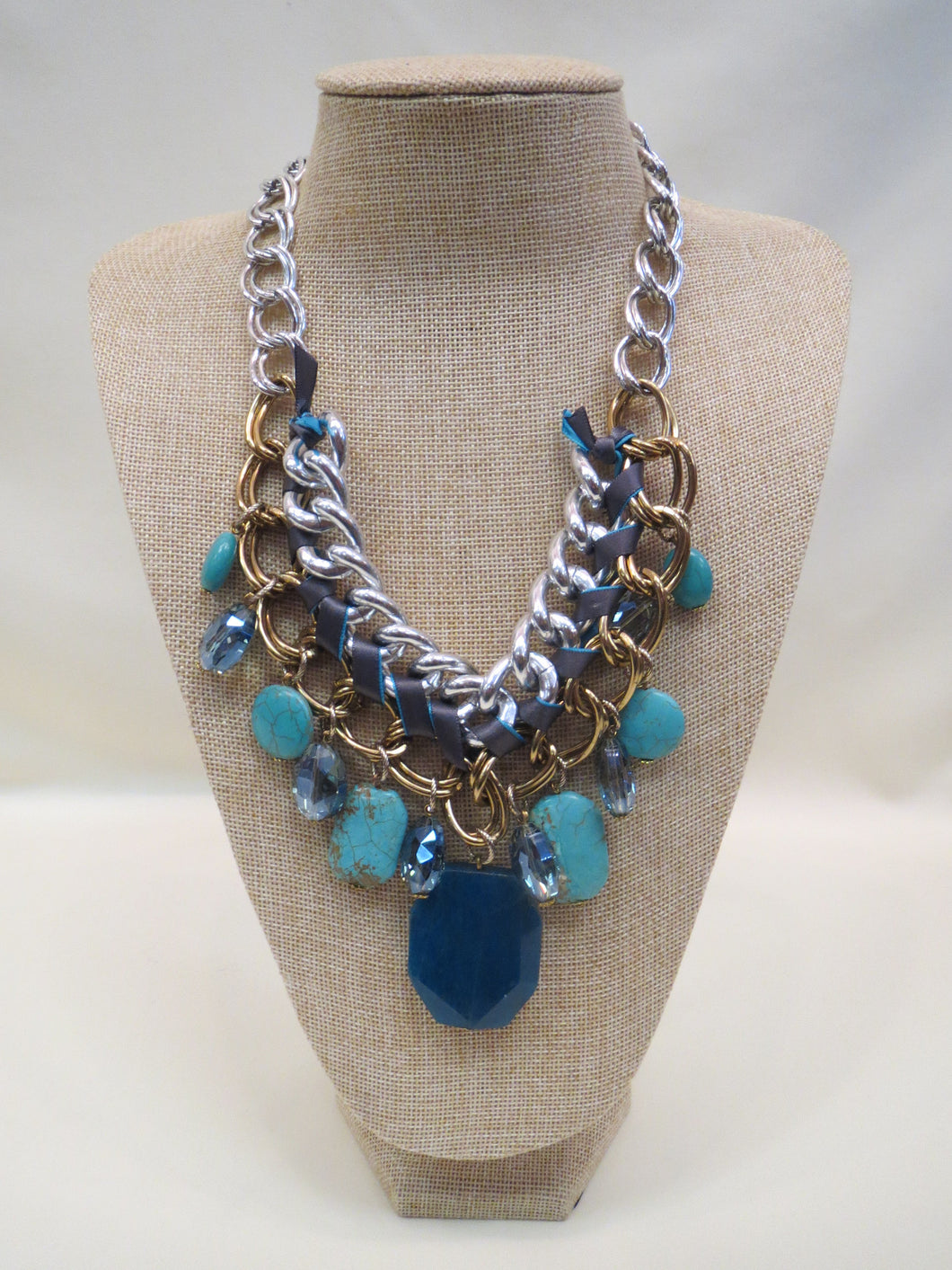 ADO | Braided Stone Charm Necklace Multi - All Decd Out