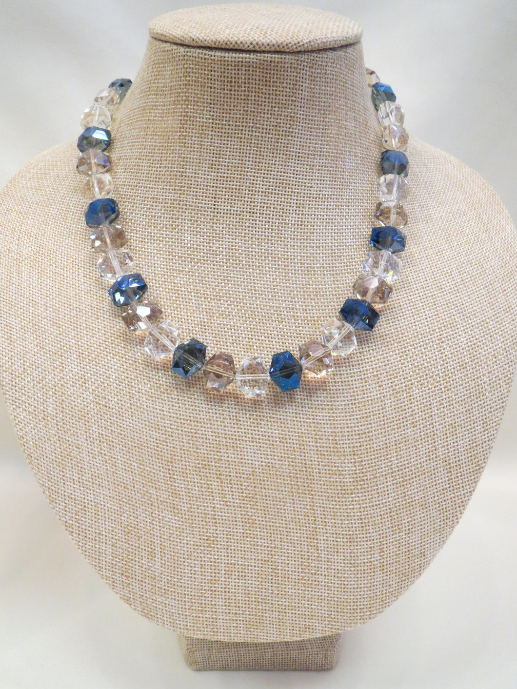 ADO | Blue & Clear Beaded Necklace Short - All Decd Out
