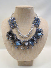 ADO Navy Stone Necklace Silver Chain 2 Layers | All Dec'd Out