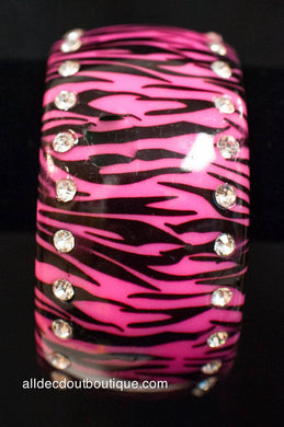 ADO | Black and Pink Zebra Bangle Bracelet with Jewels - All Decd Out