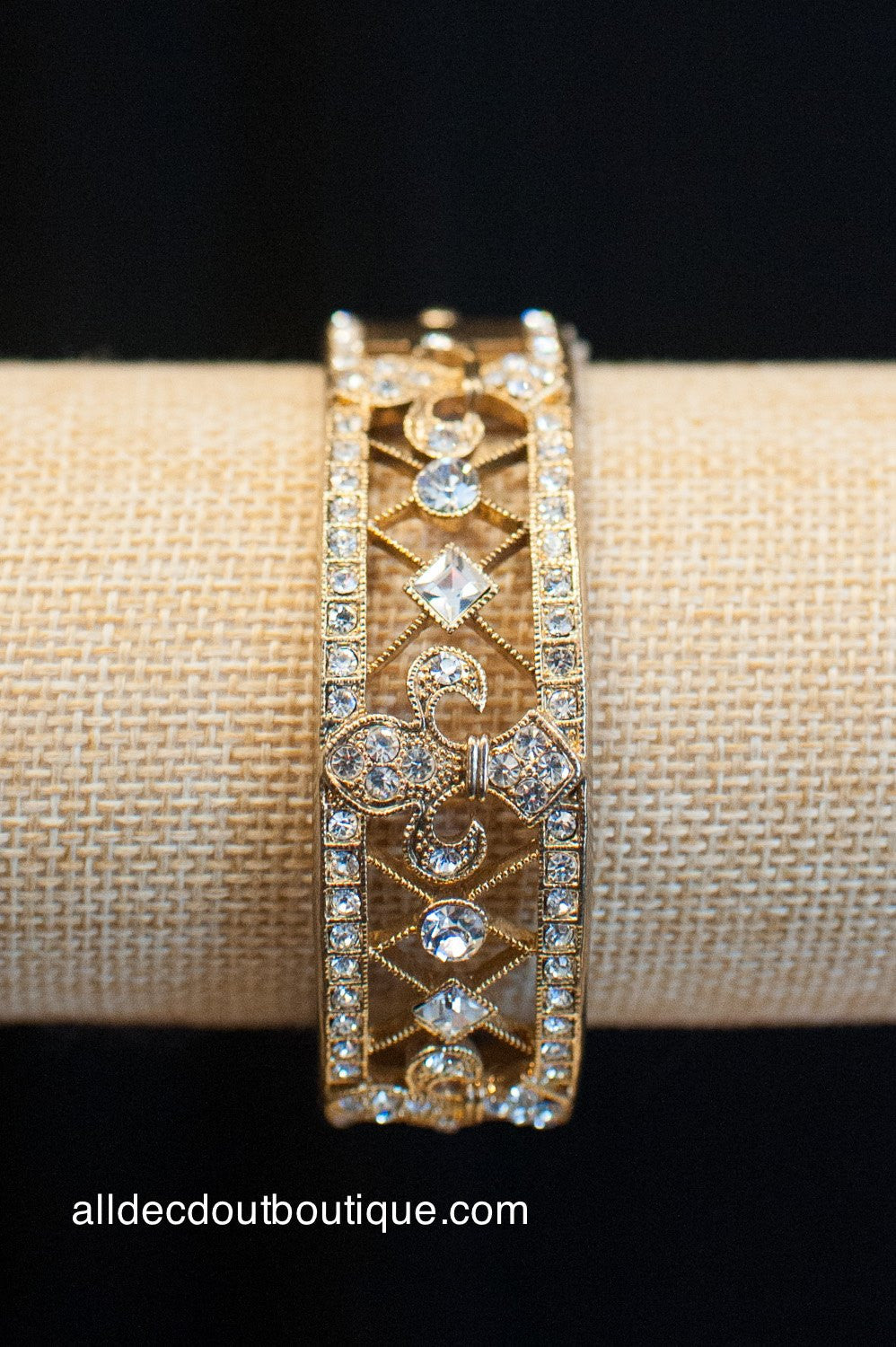 ADO | Fleur De Lis Gold Cuff Bracelet with Latch - All Decd Out