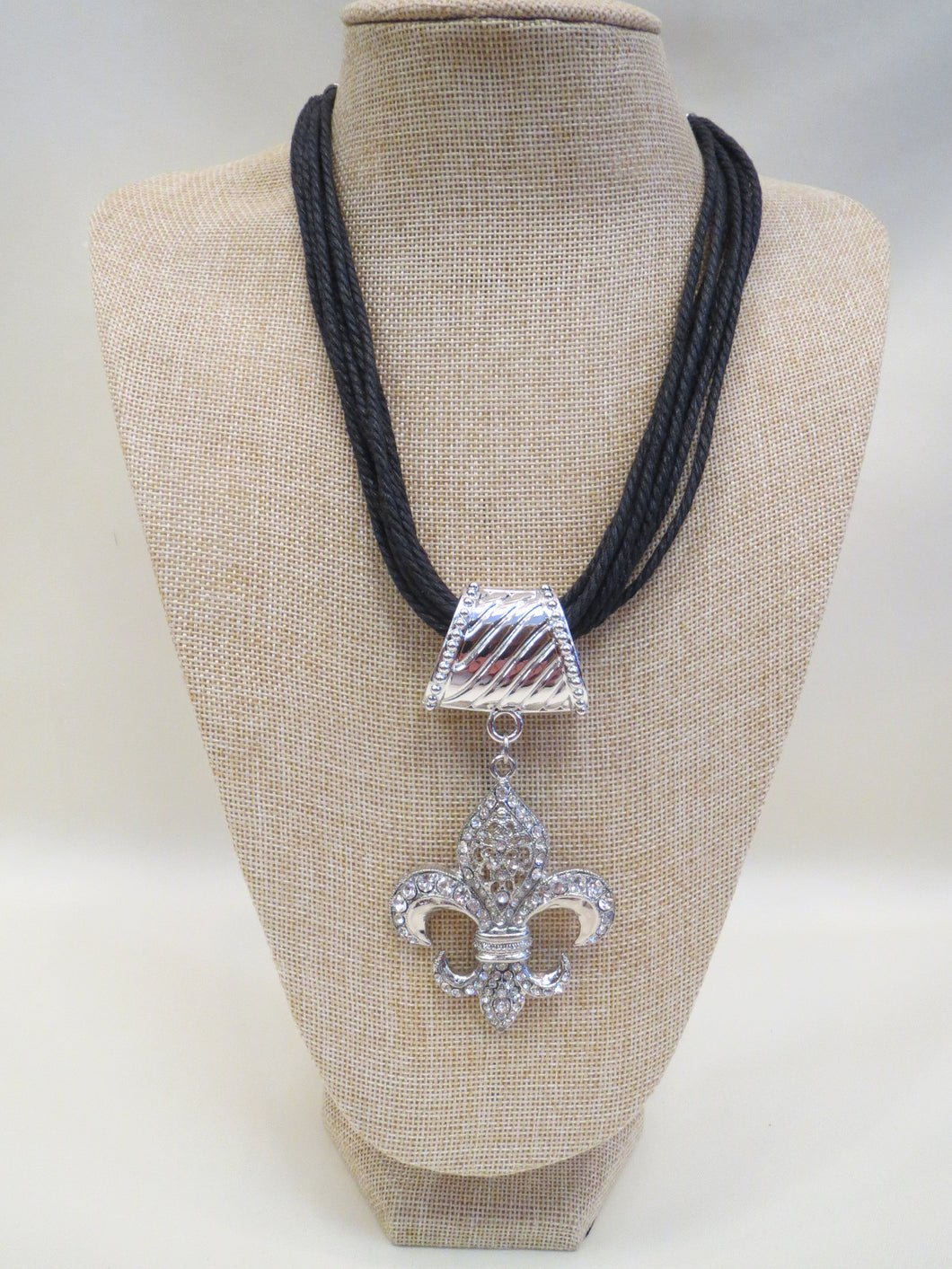 ADO Leather Cord Necklace Fleur De Lis | All Dec'd Out