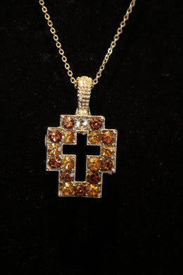 ADO | Embellished Cross Pendant Silver & Amber - All Decd Out