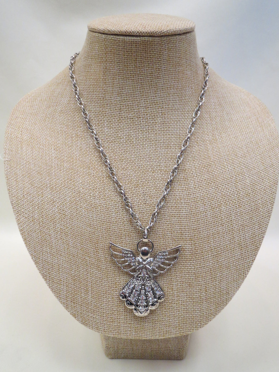 ADO | Embellished Silver Angel Necklace - All Decd Out