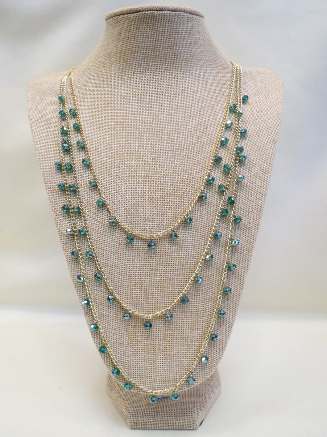 ADO | 3 Layer Teal Beads Gold Chain Necklace - All Decd Out