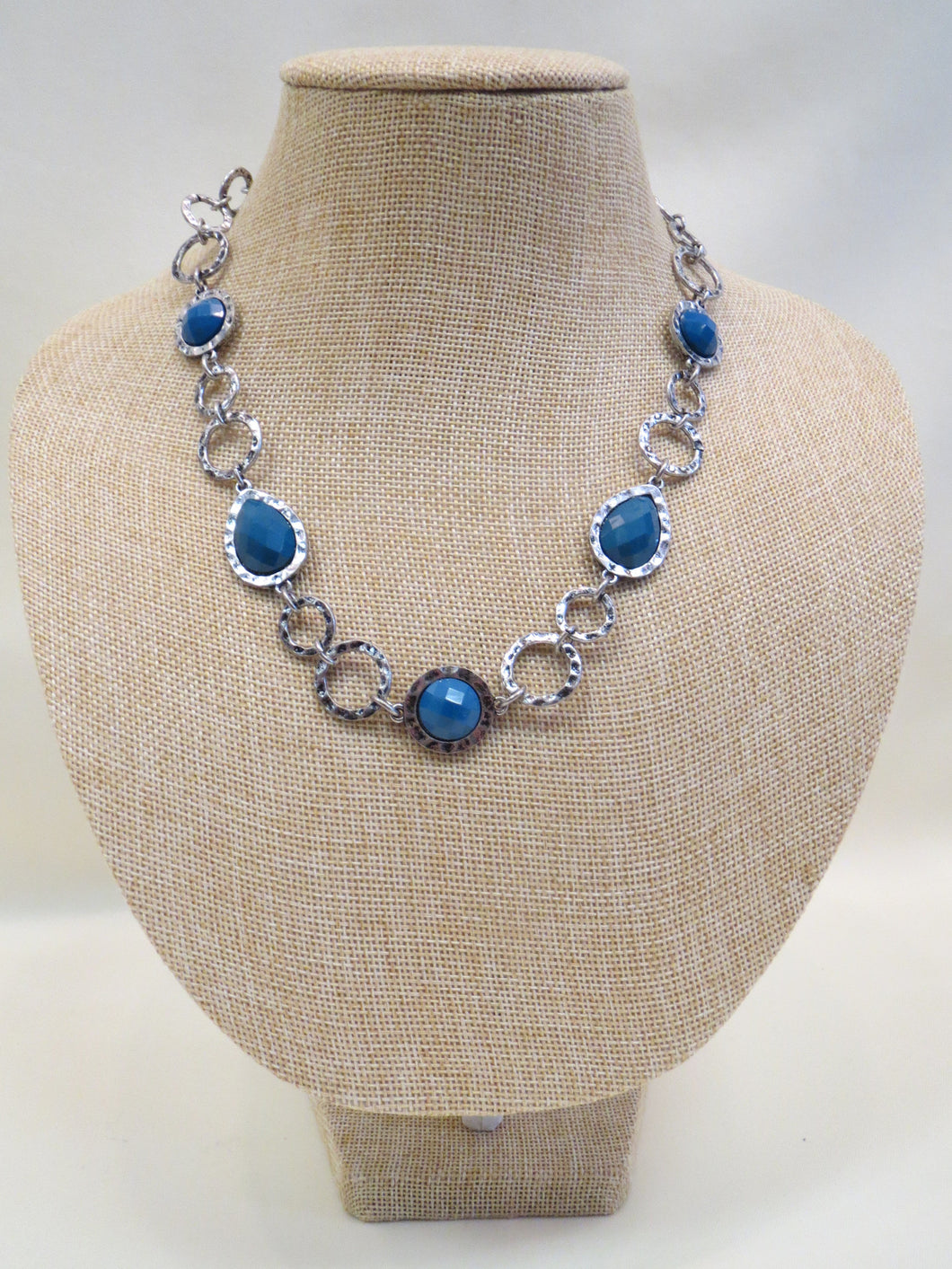 ADO Silver Chain Blue Stone Necklace | All Dec'd Out