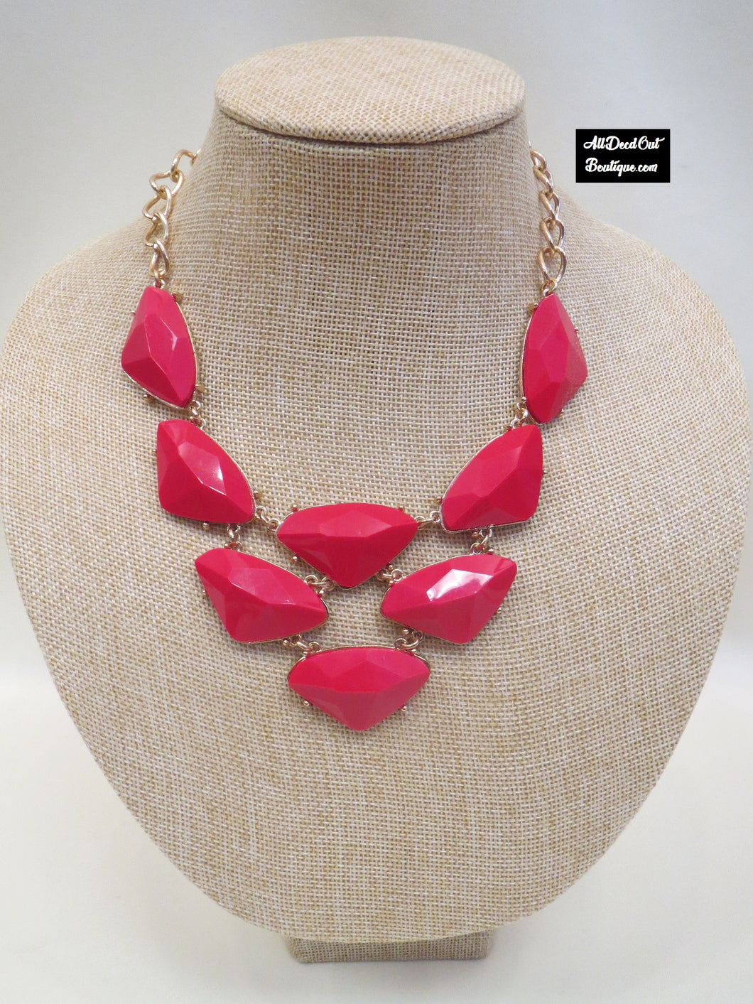 ADO | Red & Gold Bib Necklace