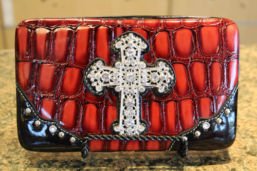 ADO | Bling Cross Patton Leather Red Clutch Wallet
