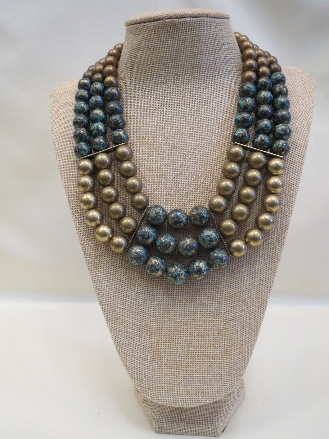 ADO | Gold & Turquoise Bib Necklace - All Decd Out