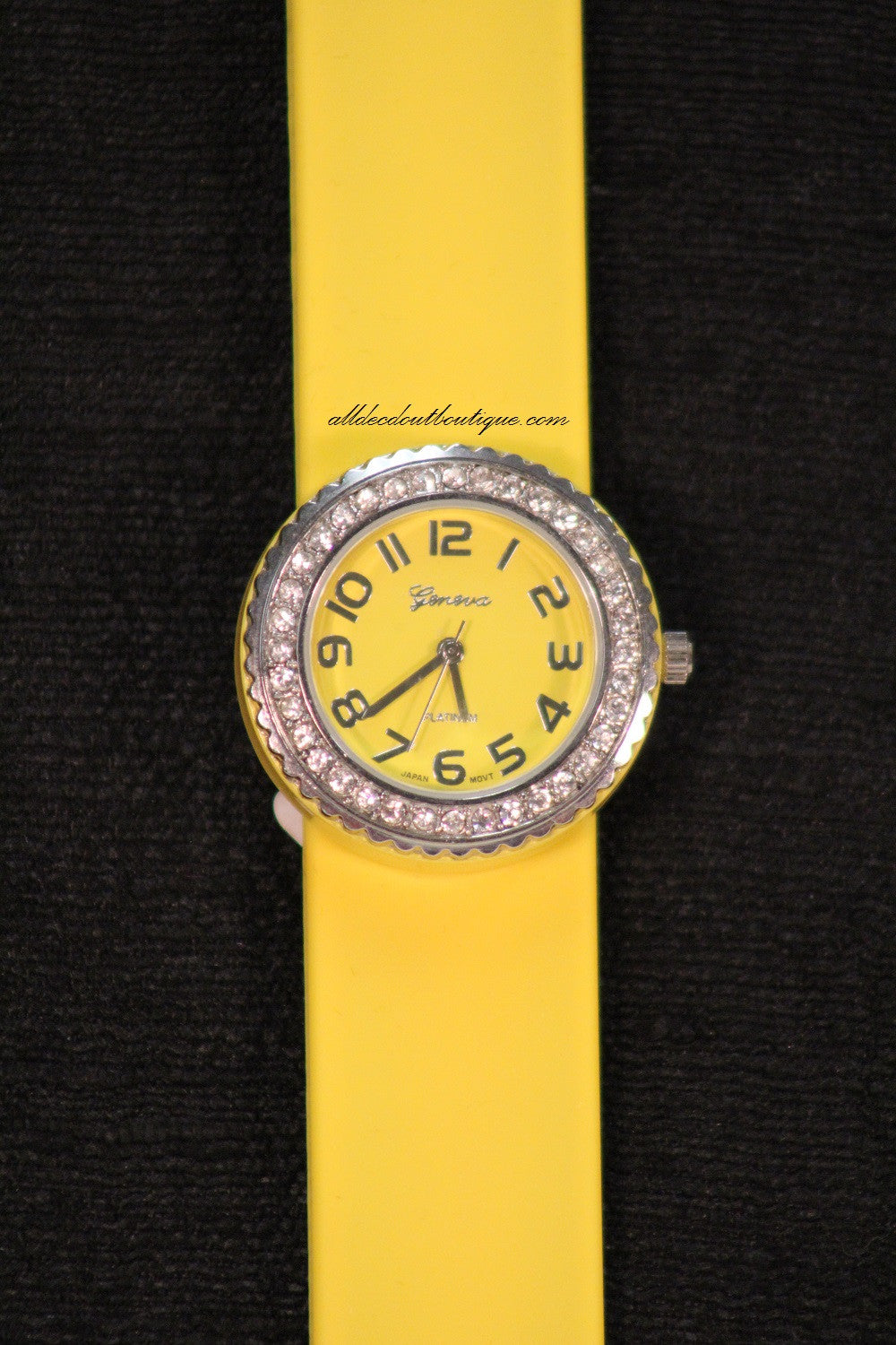 Yellow/Yellow Clear Rhinestone | Silicone Snap Band