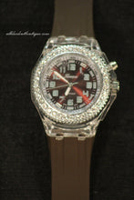 Brown/Brown Clear Rhinestones Large Face | Silicone Band with Clasp