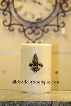 DECORATIVE CANDLE PIN EMBELLISHED Topaz Crystals Small Fleur De Lis