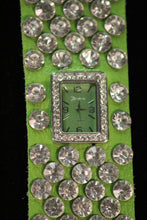Green/Green Silver Studs Clear Rhinestones | Leather Band with Button Clasp