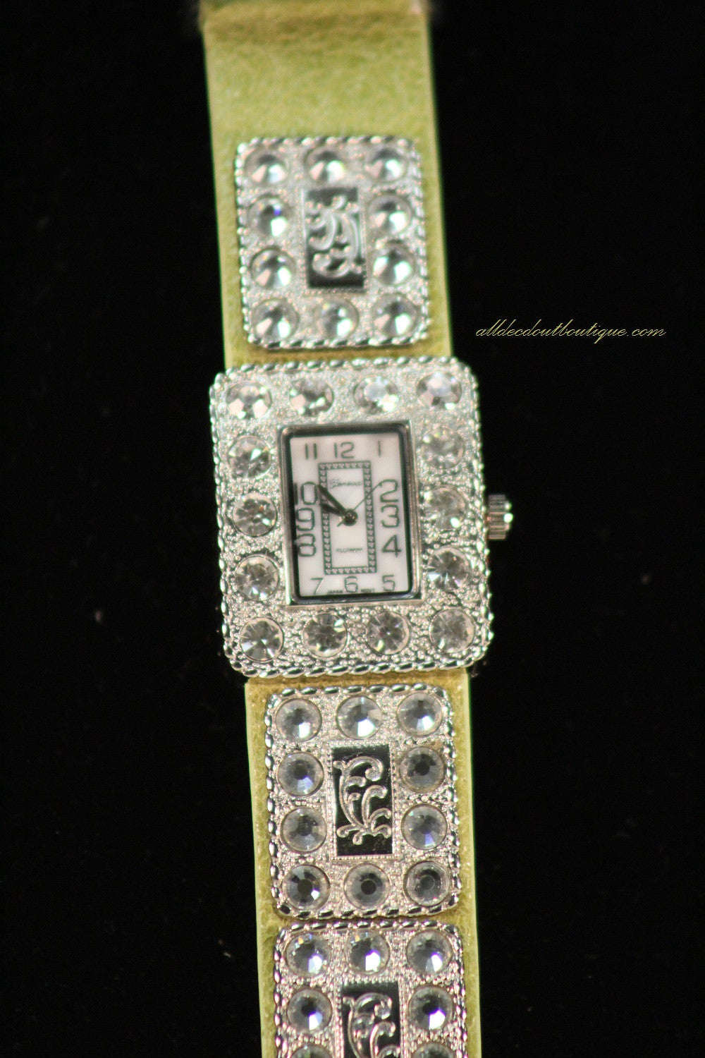 Green/White Clear Rhinestones | Leather Band with Buckle Clasp