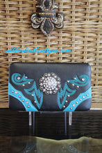 ADO | Black Embellished Western Concho Clutch Wallet - All Decd Out