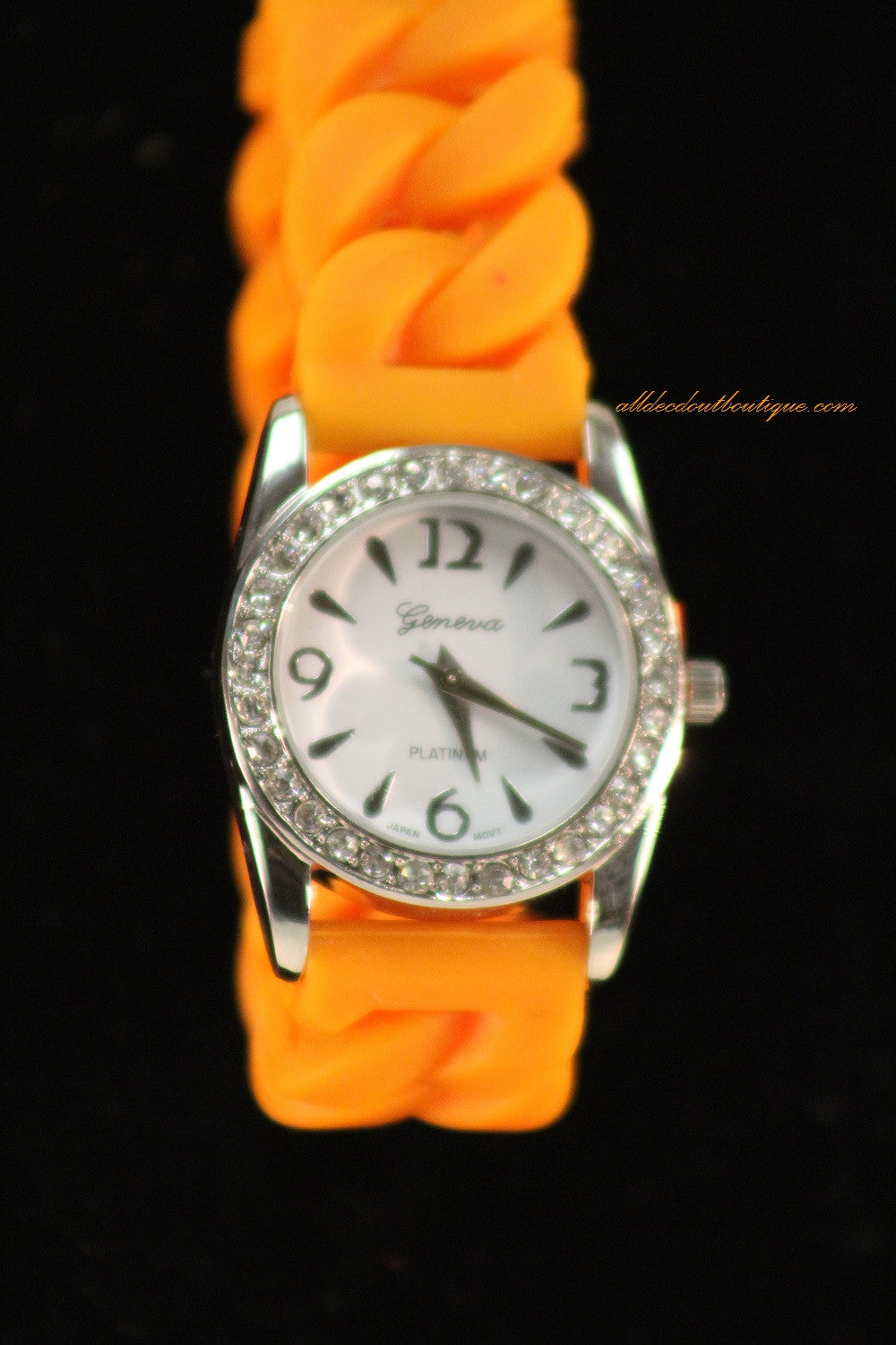 Orange/White Clear Rhinestones | Silicone Band