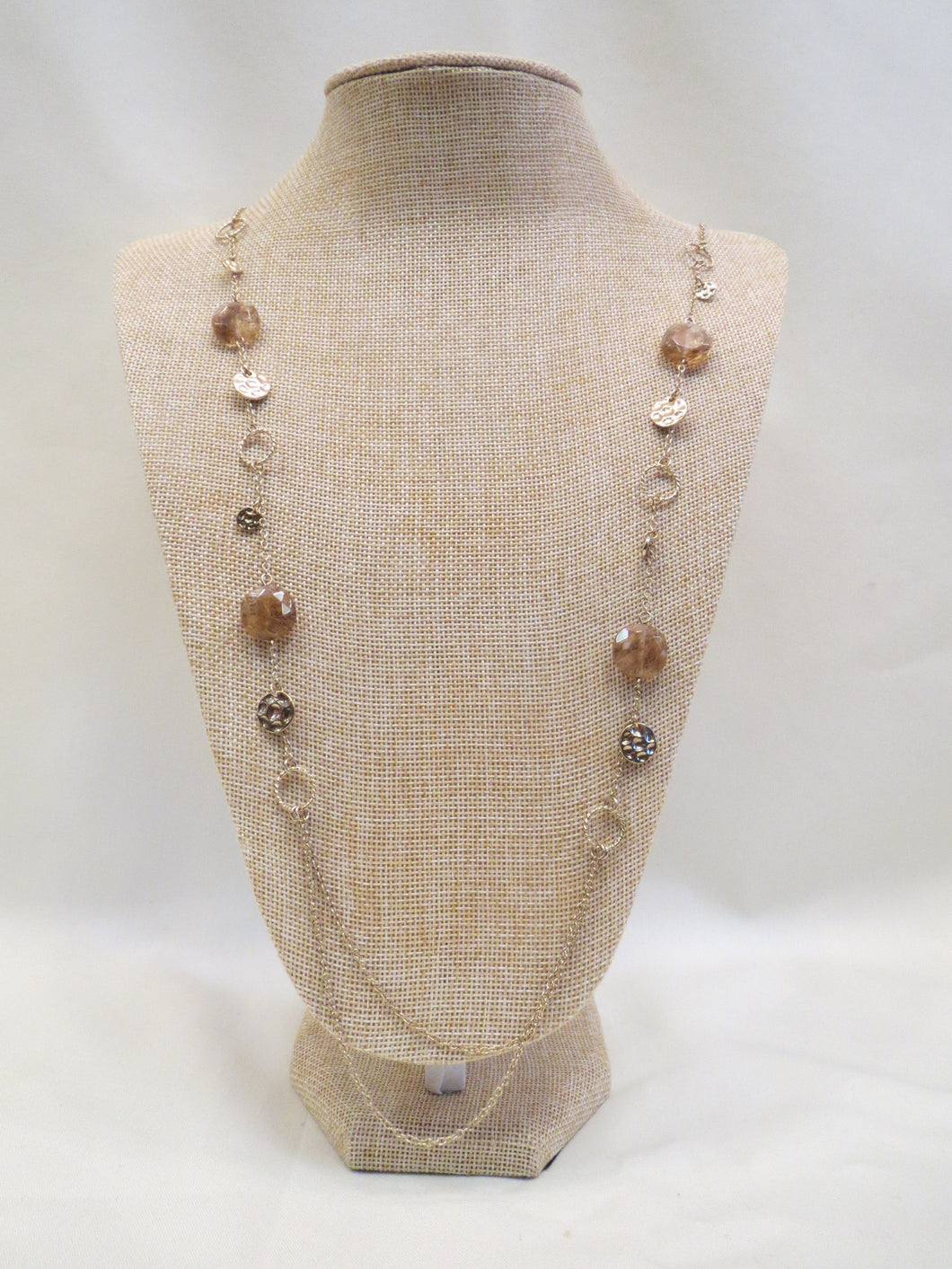ADO | Gold Stone Necklace Long - All Decd Out