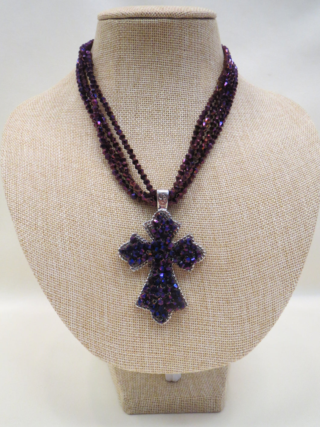 Purple Beaded Necklace w/ Removable Cross Pendant | All Dec'd Out