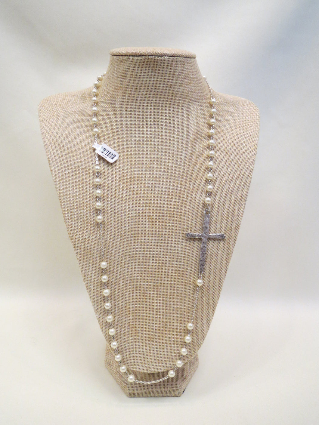 ADO Fashion Jewelry Long Pearl and Metal Cross Necklace