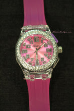 Pink/Pink Clear Rhinestones Large Face | Silicone Band with Clasp