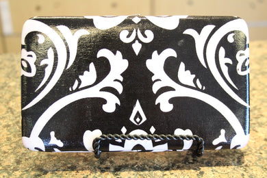 ADO | Damask Print Clutch Wallet with Red Trim - All Decd Out